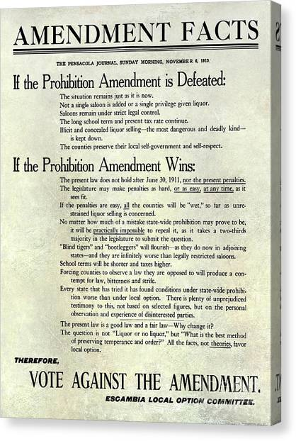 Vodka Canvas Print - 1910 Prohibition Amendment Facts by Jon Neidert