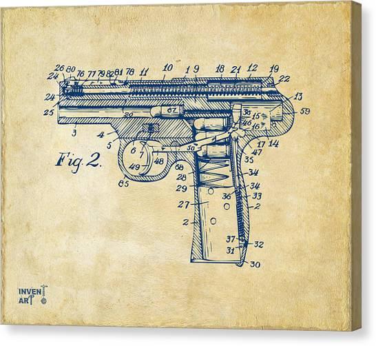 X Ray Canvas Print - 1911 Automatic Firearm Patent Minimal - Vintage by Nikki Marie Smith