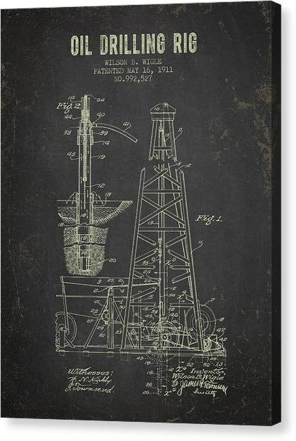 Oil Rigs Canvas Print - 1911 Oil Drilling Rig Patent - Dark Grunge by Aged Pixel
