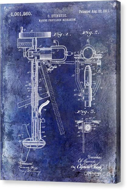 Yamaha Canvas Print - 1911 Outboard Boat Motor Patent by Jon Neidert