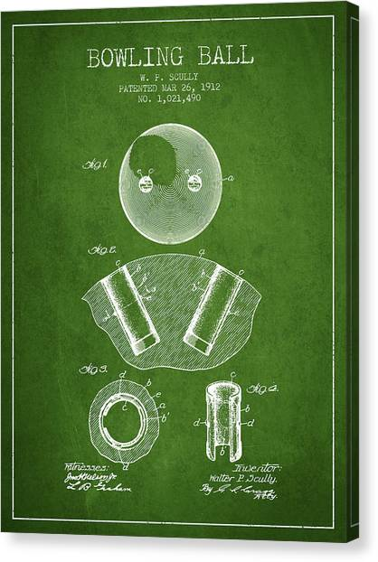 Bowling Alley Canvas Print - 1912 Bowling Ball Patent - Green by Aged Pixel