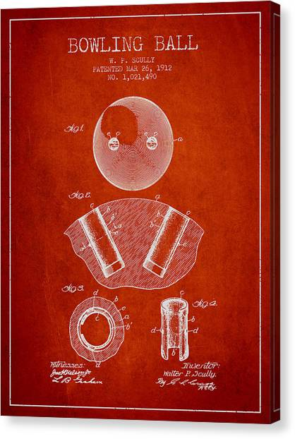 Bowling Alley Canvas Print - 1912 Bowling Ball Patent - Red by Aged Pixel