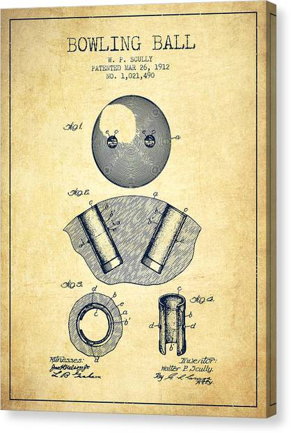 Bowling Alley Canvas Print - 1912 Bowling Ball Patent - Vintage by Aged Pixel