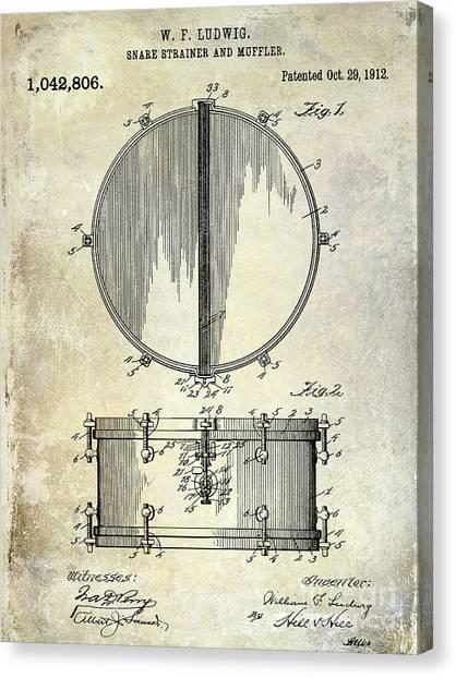 Snares Canvas Print - 1912 Ludwig Drum Patent  by Jon Neidert