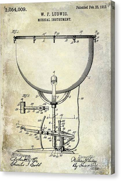 Snare Drums Canvas Print - 1913 Ludwig Drum Patent  by Jon Neidert