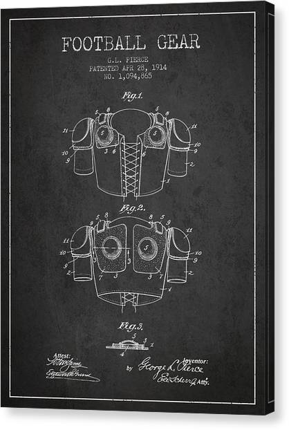 Rugby League Canvas Print - 1914 Football Gear Patent - Charcoal by Aged Pixel