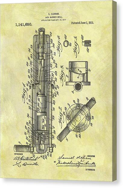 Jackhammers Canvas Print - 1915 Jack Hammer Patent by Dan Sproul