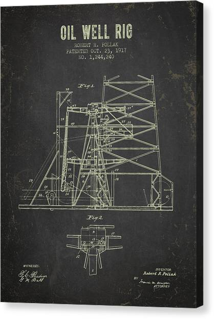 Oil Rigs Canvas Print - 1917 Oil Well Rig Patent - Dark Grunge by Aged Pixel