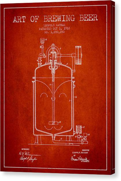 Brewery Canvas Print - 1918 Art Of Brewing Beer Patent - Red by Aged Pixel
