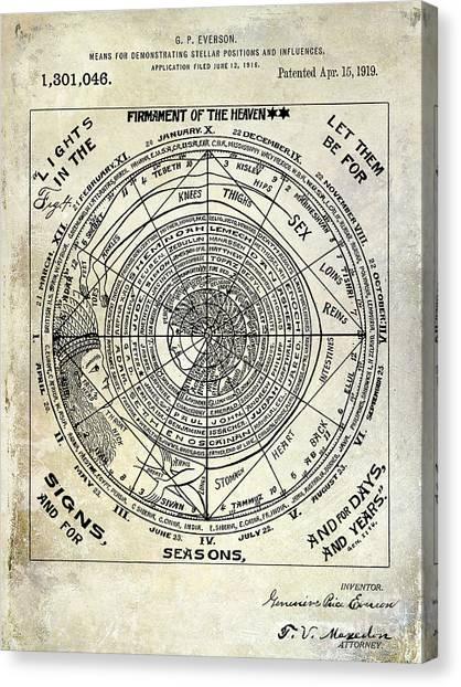 Astrology Canvas Print - 1919 Astrology Patent by Jon Neidert