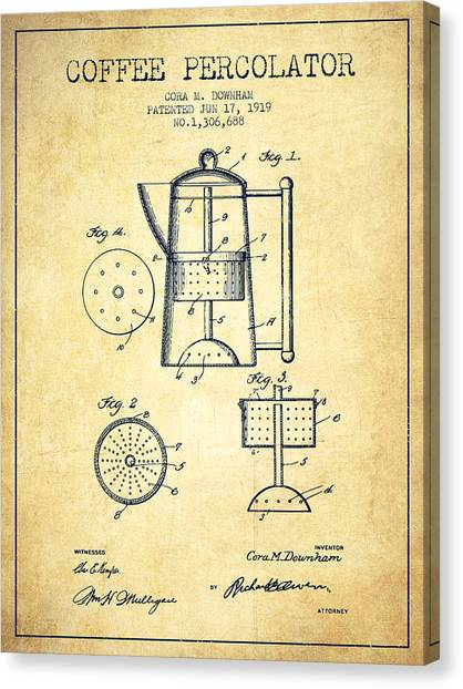 Lovers Drawing Canvas Print - 1919 Coffee Percolator Patent - Vintage by Aged Pixel
