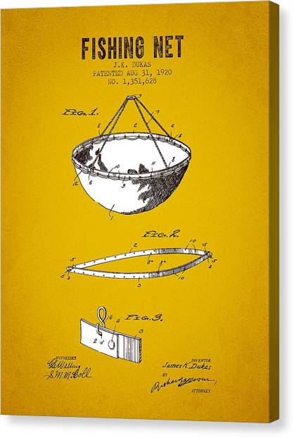 Bass Fishing Canvas Print - 1920 Fishing Net Patent - Yellow Brown by Aged Pixel
