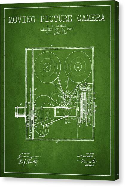 Vintage Camera Canvas Print - 1920 Moving Picture Camera Patent - Green by Aged Pixel