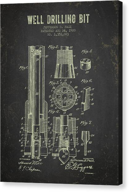 Oil Rigs Canvas Print - 1920 Well Drilling Bit Patent - Dark Grunge by Aged Pixel