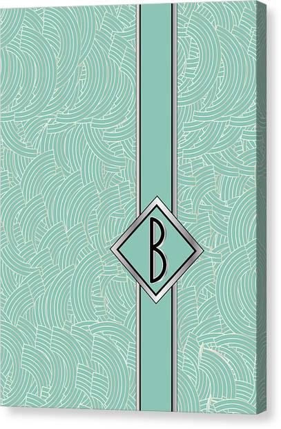 1920s Blue Deco Jazz Swing Monogram ...letter B Canvas Print
