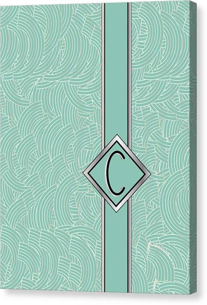1920s Blue Deco Jazz Swing Monogram ...letter C Canvas Print
