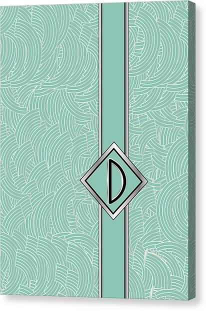 1920s Blue Deco Jazz Swing Monogram ...letter D Canvas Print