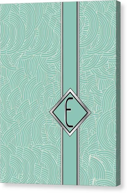 1920s Blue Deco Jazz Swing Monogram ...letter E Canvas Print