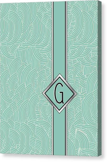 1920s Blue Deco Jazz Swing Monogram ...letter G Canvas Print