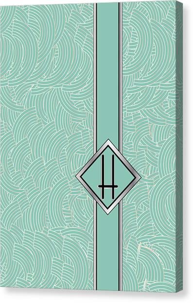 1920s Blue Deco Jazz Swing Monogram ...letter H Canvas Print