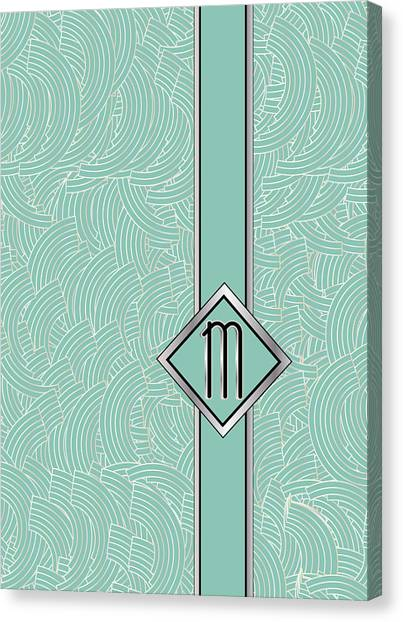 1920s Blue Deco Jazz Swing Monogram ...letter M Canvas Print