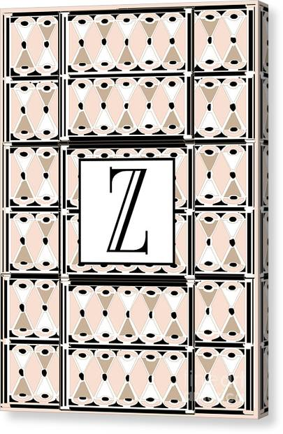 1920s Pink Champagne Deco Monogram  Z Canvas Print