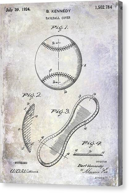 Catchers Canvas Print - 1924 Baseball Patent by Jon Neidert