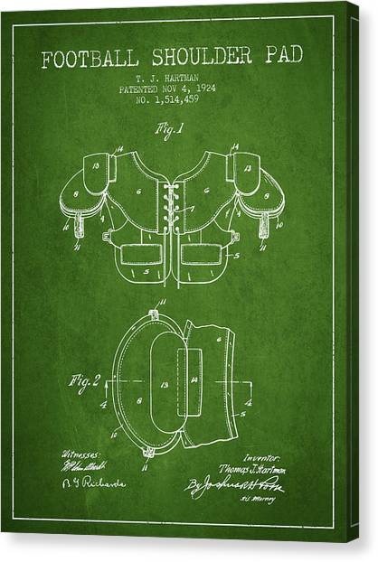 Rugby League Canvas Print - 1924 Football Shoulder Pad Patent - Green by Aged Pixel