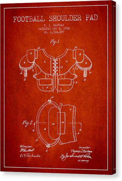 Rugby League Canvas Print - 1924 Football Shoulder Pad Patent - Red by Aged Pixel