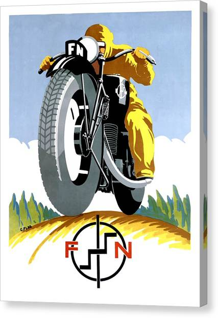 Motocross Canvas Print - 1925 Fn Motorcycles Advertising Poster by Retro Graphics