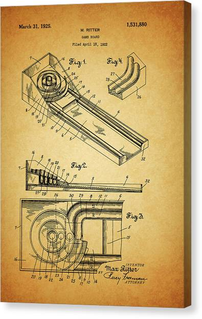 Toy Shop Canvas Print - 1925 Skee Ball Patent by Dan Sproul