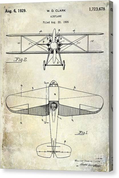 Airplane blueprint canvas prints fine art america airplane blueprint canvas print 1929 airplane patent by jon neidert malvernweather Gallery