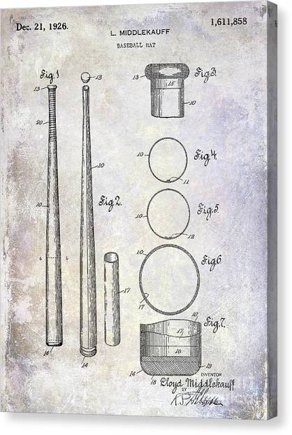 Catchers Canvas Print - 1926 Baseball Bat Patent by Jon Neidert