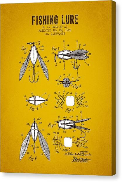 Bass Fishing Canvas Print - 1926 Fishing Lure Patent - Yellow Brown by Aged Pixel