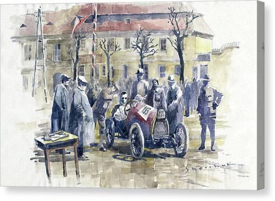 Race Cars Canvas Print - 1922 Zbraslav Jiloviste Start Bugatti T13 Brescia. by Yuriy Shevchuk