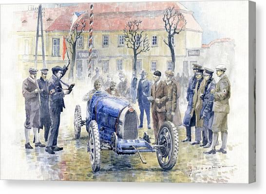 Race Cars Canvas Print - 1926 Zbraslav Jiloviste Start Bugatti T35b Cenek Junek Elisabeth Junek  by Yuriy Shevchuk
