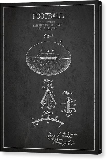 Rugby League Canvas Print - 1927 Football Patent - Charcoal by Aged Pixel