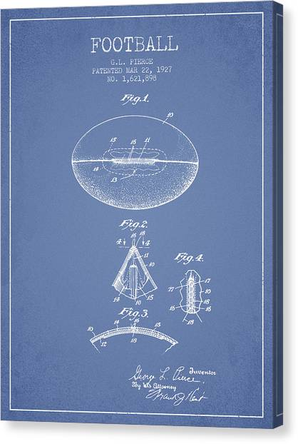 Rugby League Canvas Print - 1927 Football Patent - Light Blue by Aged Pixel