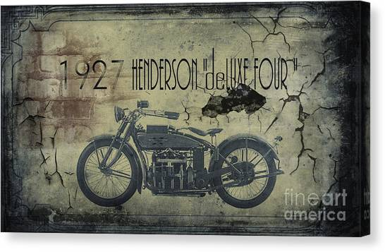 Motorcycle Canvas Print - 1927 Henderson Vintage Motorcycle by Cinema Photography