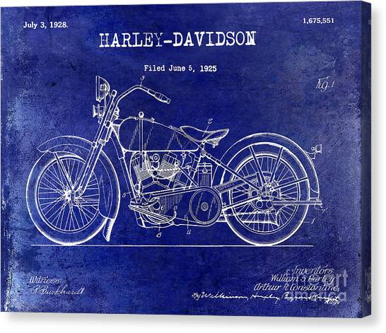Ducati Canvas Print - 1928 Harley Davidson Patent Drawing Blue by Jon Neidert