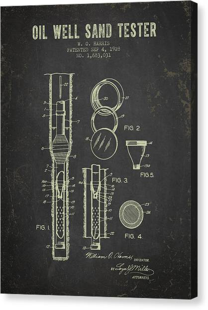 Oil Rigs Canvas Print - 1928 Oil Well Tester Patent - Dark Grunge by Aged Pixel