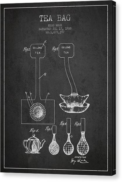 Tea Time Canvas Print - 1928 Tea Bag Patent 02 - Charcoal by Aged Pixel