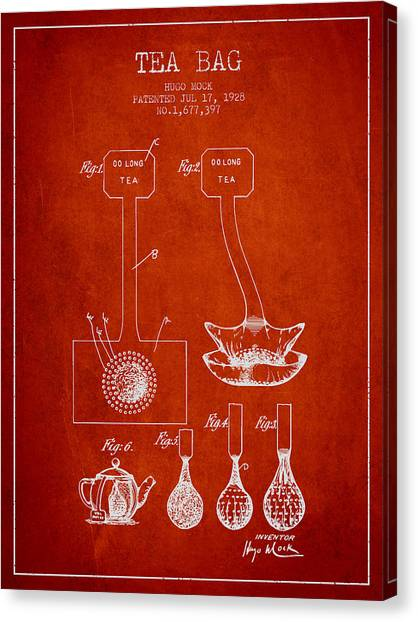Tea Time Canvas Print - 1928 Tea Bag Patent 02 - Red by Aged Pixel