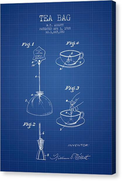 Tea Time Canvas Print - 1928 Tea Bag Patent - Blueprint by Aged Pixel