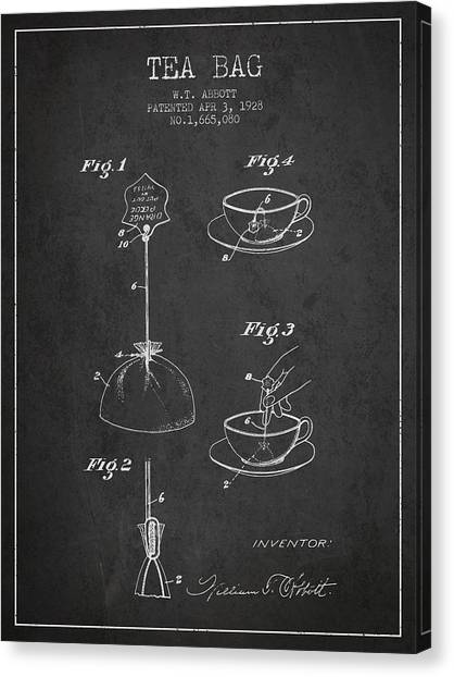 Tea Time Canvas Print - 1928 Tea Bag Patent - Charcoal by Aged Pixel