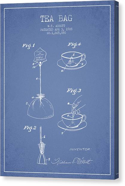 Tea Canvas Print - 1928 Tea Bag Patent - Light Blue by Aged Pixel