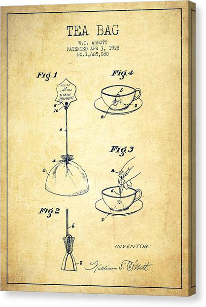 Tea Time Canvas Print - 1928 Tea Bag Patent - Vintage by Aged Pixel