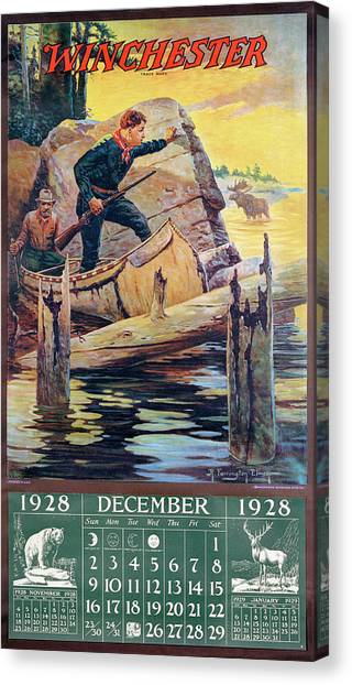 1928 Winchester Repeating Arms And Ammunition Calendar Canvas Print