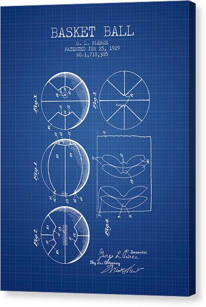 Basketball Goal Patent Canvas Print - 1929 Basket Ball Patent - Blueprint by Aged Pixel