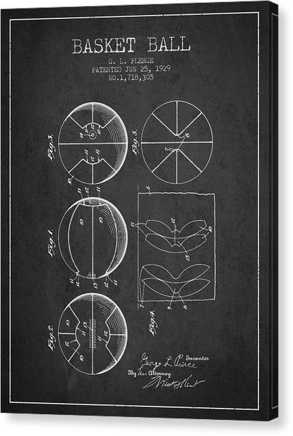 Slam Dunk Canvas Print - 1929 Basket Ball Patent - Charcoal by Aged Pixel